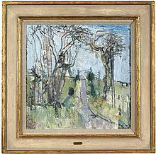 § JOHN BOYD R.P., R.G.I. (SCOTTISH 1940-2001) ROAD BY ARDLAMONT 40.5cm x 40.5cm (16in x 16in)
