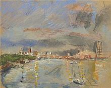 § ANTHONY EYTON R.A. (BRITISH B.1923) WATERLOO BRIDGE TOWARDS ST PAULS 47cm x 58.5cm (18.5in x 23in)