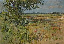 § SUSAN RYDER R.P., N.E.A.C. (BRITISH B.1945) BARLEY FIELDS AT WALSHAM-LE-WILLOWS 59cm x 71cm (23in x 28in)