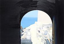 § CHRIS BUSHE R.S.W. (SCOTTISH B.1958) CRUSADER GATE 57cm x 82cm (22.5in x 32in)