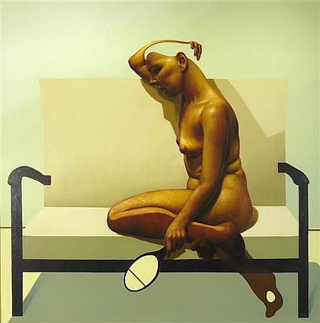 § CRAIG MULHOLLAND (SCOTTISH B.1969) LIFE ROOM 119cm x 118cm (47in x 46.5in)