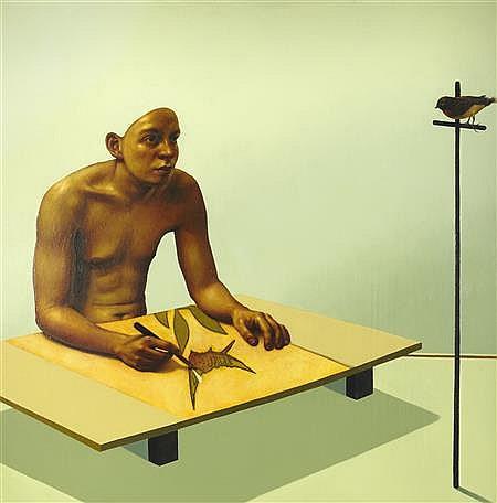 § CRAIG MULHOLLAND (SCOTTISH B.1969) LIFE CLASS 119cm x 118cm (47in x 46.5in)