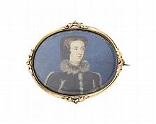 An 18th century portrait miniature of Mary Queen of Scots frame 8.7cm wide