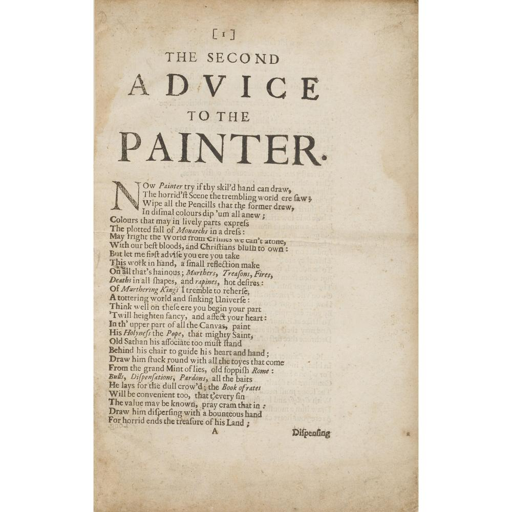 [MARVELL, ANDREW?] THE SECOND ADVICE TO THE PAINTER