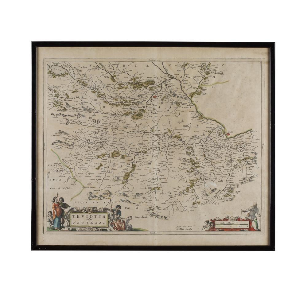 BLAEU, JAN. TWO MAPS ESKDALE AND TEVIOTDALE