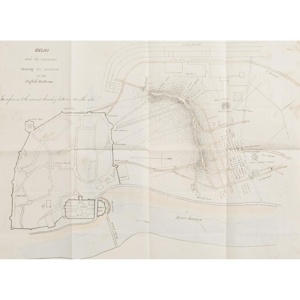INDIAN MUTINY DELHI AND ITS ENVIRONS SHOWING THE POSITION OF THE ENGLISH BATTERIES