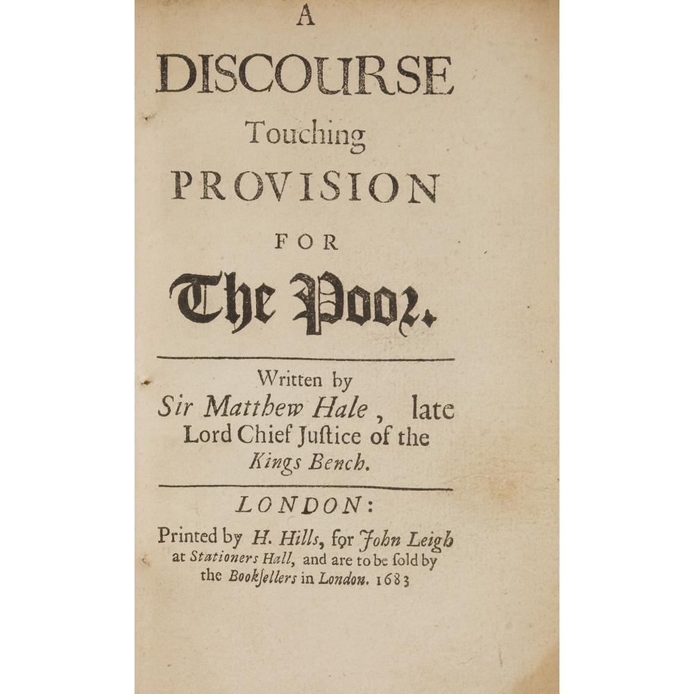 HALE, SIR MATTHEW A DISCOURSE TOUCHING PROVISION FOR THE POOR