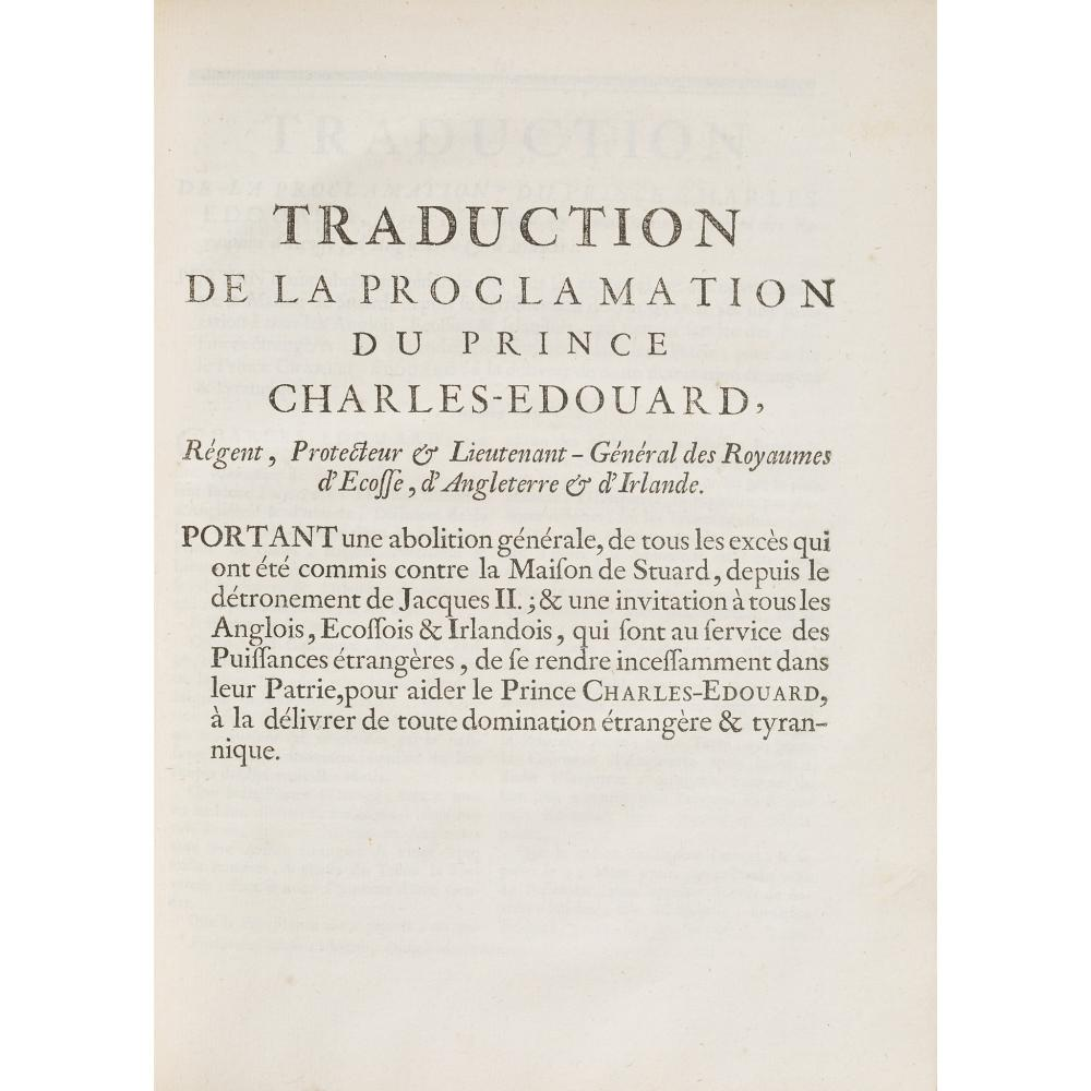 FRENCH TRACTS RELATING TO THE 1745 RISING AND PRINCE CHARLES EDWARD STUART COMPRISING: