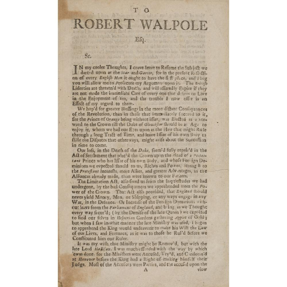 1715 RISING - 5 RARE PAMPHLETS, BOUND IN ONE VOLUME COMPRISING TO ROBERT WALPOLE ESQ.