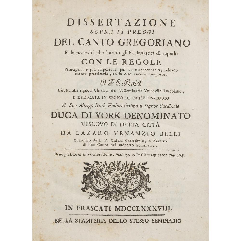 GREGORIAN CHANT - HENRY BENEDICT STUART, CARDINAL, DUKE OF YORK BELLI, LAZARO VENANZIO
