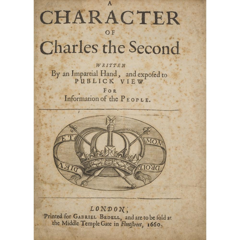 [TUKE, SIR SAMUEL] A CHARACTER OF CHARLES THE SECOND, WRITTEN BY AN IMPARTIAL HAND
