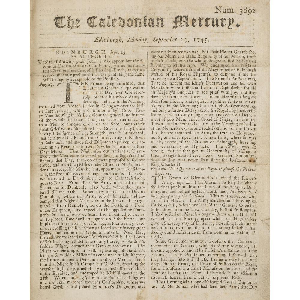 CALEDONIAN MERCURY - NEWSPAPER EDINBURGH, SEPTEMBER 23, 1745 - JANUARY 31, 1746