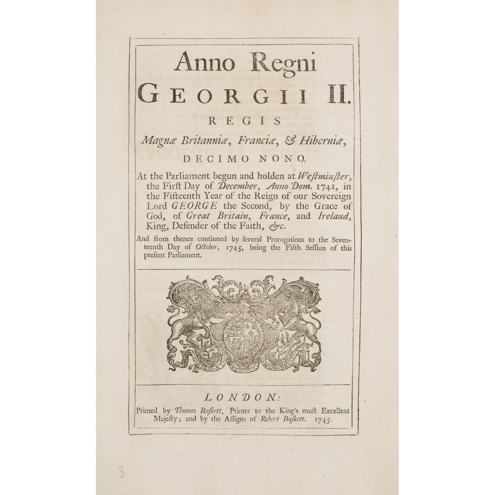 JACOBITE RISING OF 1745 22 ACTS MAINLY RELATING TO THE SUPPRESSION OF THE 1745 RISING, INCLUDING