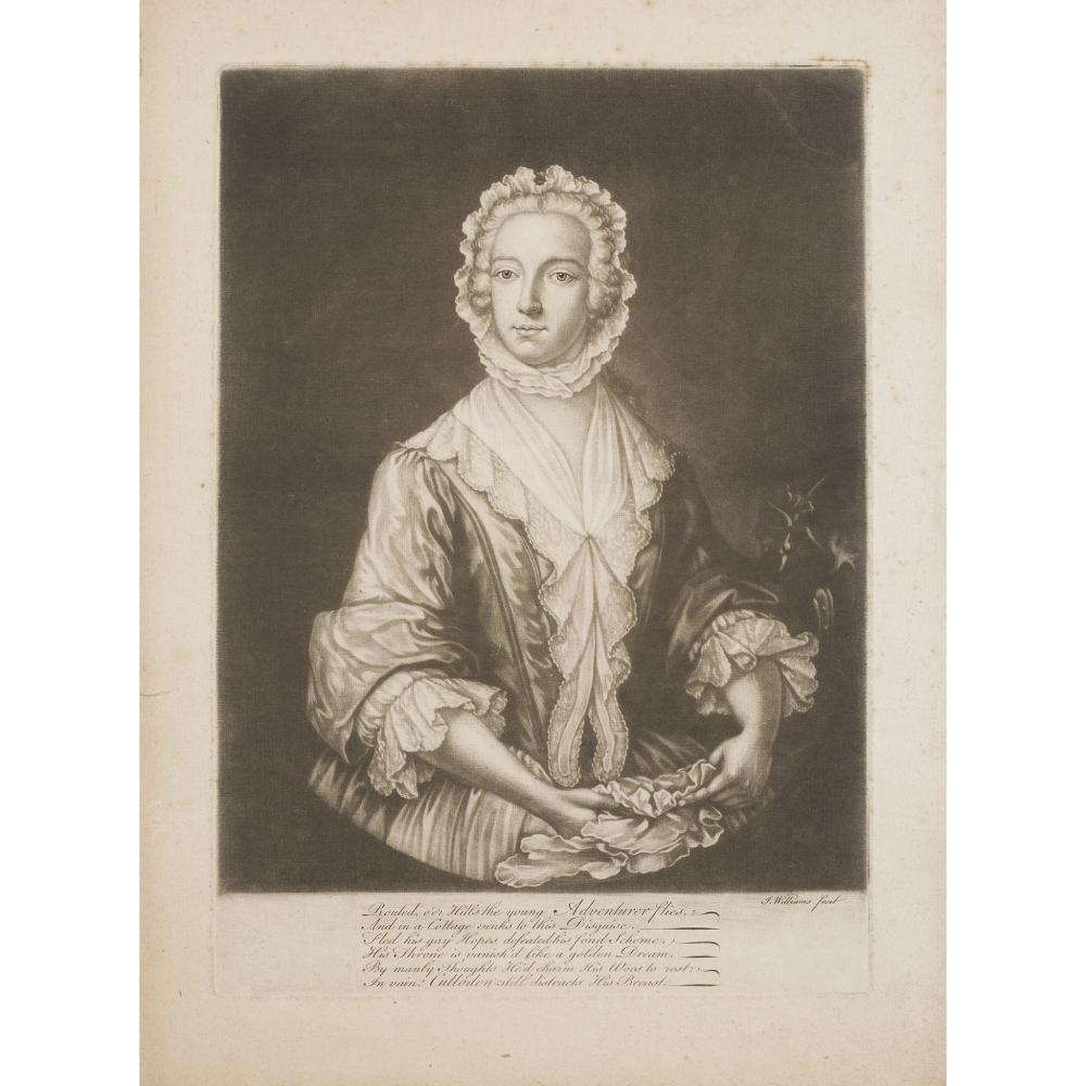 PRINCE CHARLES EDWARD DISGUISED AS BETTY BURKE MEZZOTINT BY J. WILLIAMS