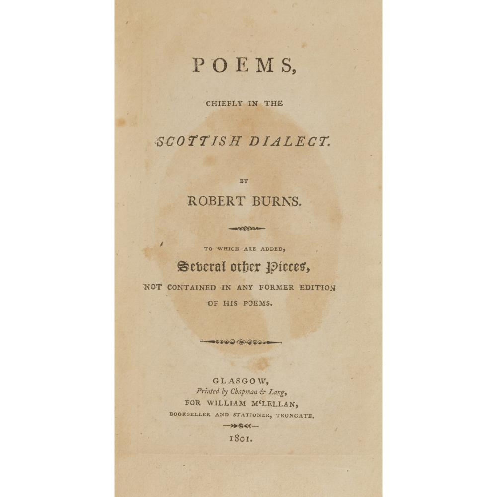 BURNS, ROBERT POEMS CHIEFLY IN THE SCOTTISH DIALECT