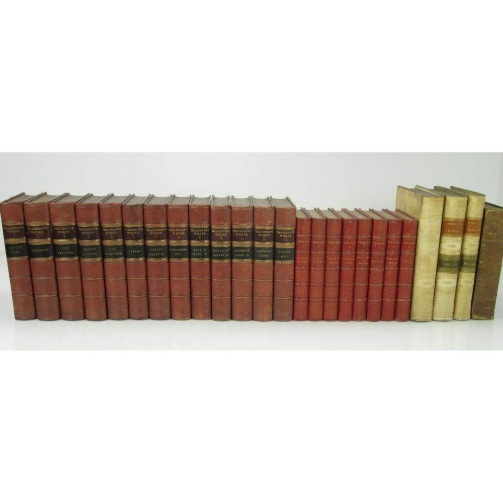 LEATHER BOUND BOOKS, A COLLECTION OF WORKS INCLUDING THACKERAY, WILLIAM MAKEPEACE