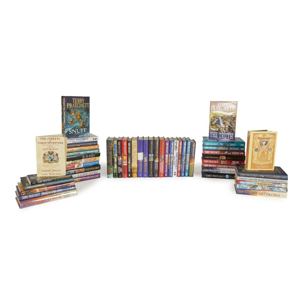 Pratchett, Terry A large collection of 50 volumes, some signed and stamped, comprising