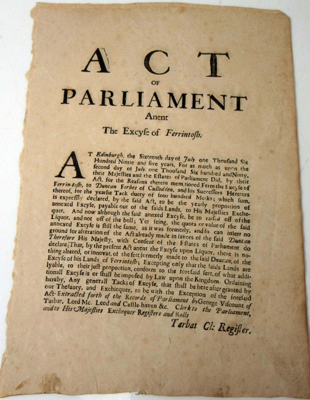 LIQUOR EXCISE DUTY: DUNCAN FORBES AND VISCOUNT TARBAT 2 BROADSIDES