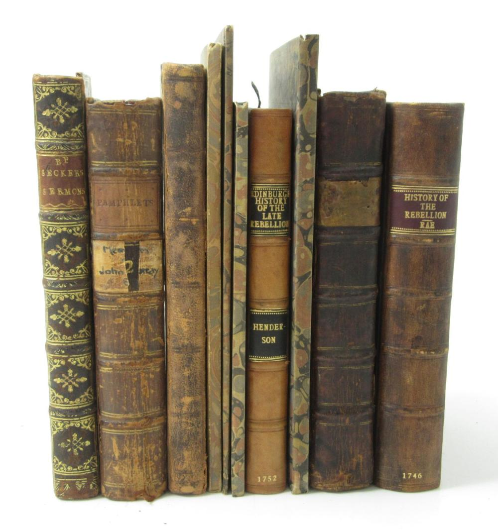 1745 JACOBITE RISING, A COLLECTION OF 17 BOOKS AND PAMPHLETS IN 10 VOLUMES INCLUDING RAE, PETER