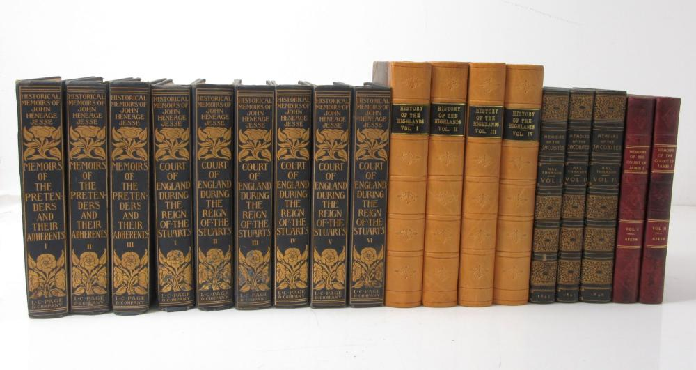 JACOBITE HISTORY, 18 VOLUMES, INCLUDING JESSE, JOHN H. MEMOIRS OF THE PRETENDERS AND THEIR ADHERENTS