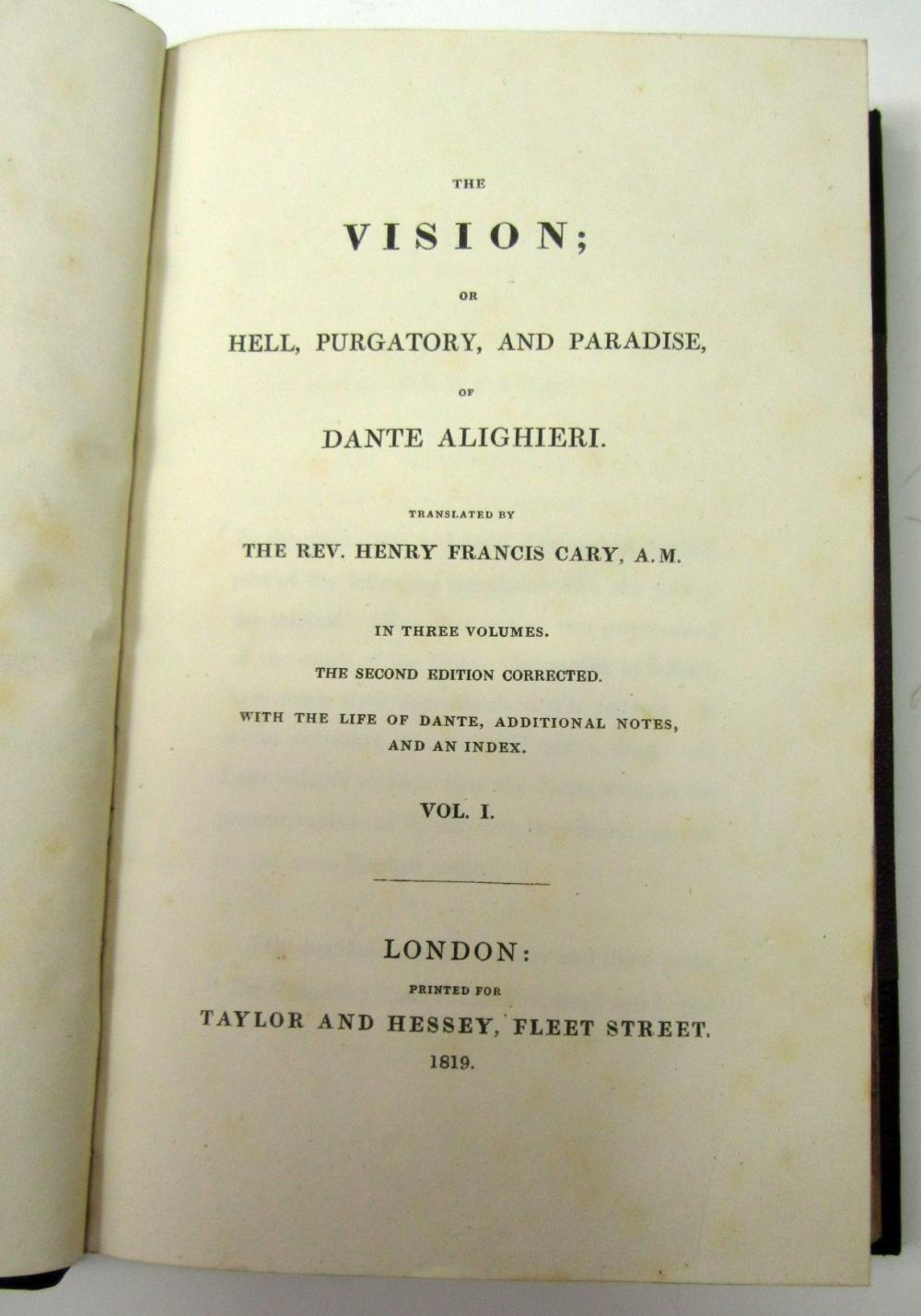 ALIGHIERI, DANTE, TRANSLATED BY CARY, HENRY FRANCIS THE VISION; OR HELL, PURGATORY, AND PARADISE
