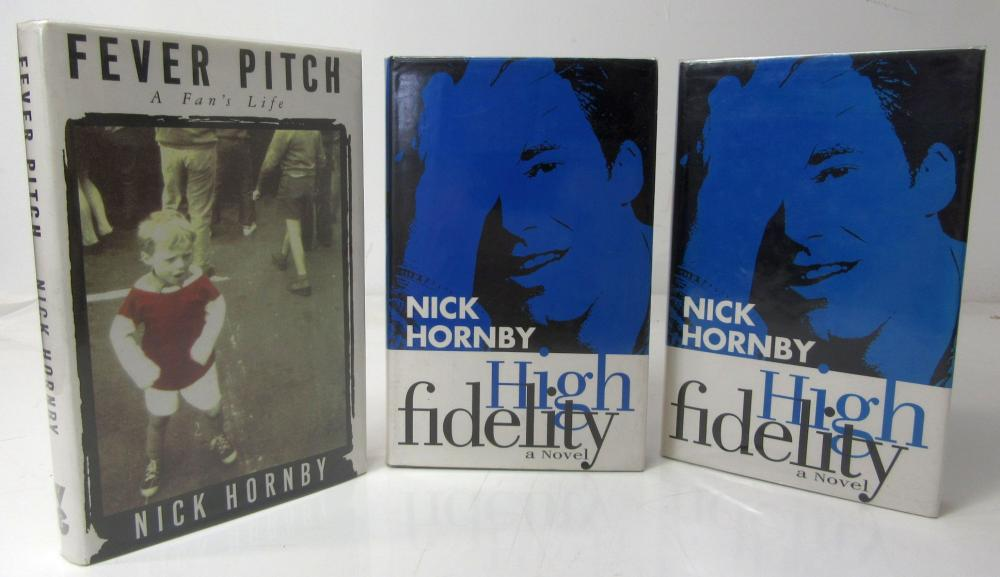 Hornby, Nick 3 First editions (2 signed) and a signed postcard, comprising