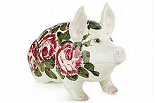 WEMYSS WARE LARGE PIG FIGURE, POST 1930 44cm long