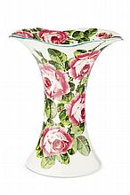 WEYMSS WARE LARGE 'CABBAGE ROSES' LADY EVA VASE, CIRCA 1900 30cm high