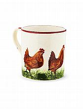 WEMYSS WARE 'BROWN COCKEREL & HENS' SMALL MUG, CIRCA 1900 9.5cm high