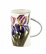WEMYSS WARE 'PURPLE IRISES' TALL MUG, EARLY 20TH CENTURY 18cm high
