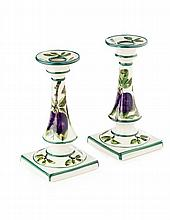 WEMYSS WARE PAIR OF PURPLE PLUMS' SQUARE BASED CANDLESTICKS, CIRCA 1900 17.5cm high