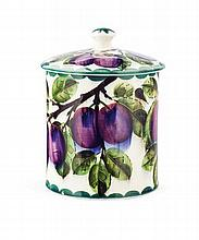WEMYSS WARE LARGE 'PURPLE PLUMS' PRESERVE JAR & COVER, CIRCA 1900 16cm high