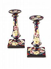 WEMYSS WARE RARE PAIR OF 'CABBAGE ROSES' SQUARE BASED CANDLESTICKS, EARLY 20TH CENTURY 18cm high