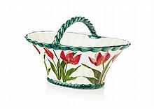 WEMYSS WARE SMALL 'TULIPS' BASKET, EARLY 20TH CENTURY 20.5cm across