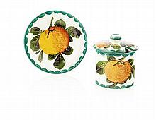 WEMYSS WARE SMALL 'ORANGES' PRESERVE JAR, COVER & STAND, EARLY 20TH CENTURY jar, 7.5cm high