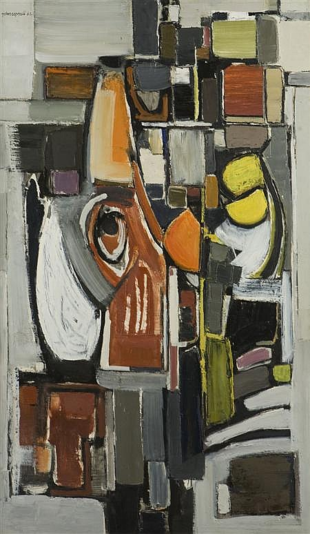 § JOHN COPNALL (BRITISH, B. 1928) ABSTRACT STRUCTURE III WITH EYE 122cm x 73cm (48in x 28.75in)