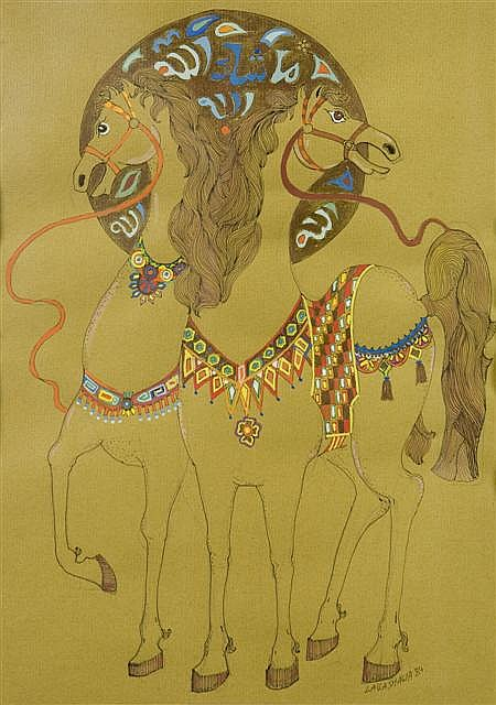 LAILA SHAWA (PALESTINIAN, B. 1940) UNTITLED 29cm x 21cm (11.5in x 8.25in)