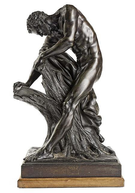 AFTER EDME DUMONT (1722-1775) MILO OF CROTON 45cm high