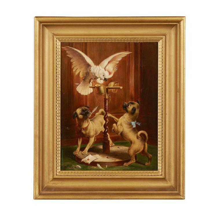 AFTER JOHANN HARTUNG (GERMAN/AUSTRIAN 1836-1918) PLAYMATES 25cm x 19cm (10in x 7.5in) and another, a pair (2)