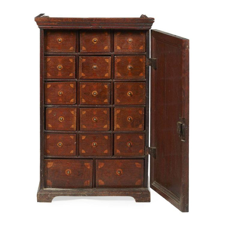 Anglo dutch oak and marquetry spice cabinet 18th century 50c for Kitchen cabinets 50cm wide