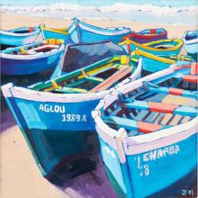 [§] JACQUELINE MACDONALD (SCOTTISH CONTEMPORARY) LAID UP - TAGHAZOUT, MOROCCO 39cm x 39cm (15.25in x 15.25in)