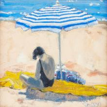 [§] CHARLES SIMPSON (SCOTTISH B.1952) IN THE SHADE 24cm x 24cm (9.5in x 9.5in)