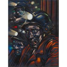 [§] PETER HOWSON (SCOTTISH B.1958) THE MINERS 60cm x 46cm (23.5in x 18in)