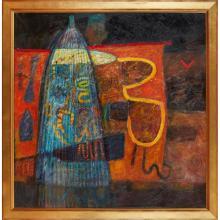 [§] MARJ BOND R.S.W., R.G.I. (SCOTTISH B.1939) EEL CATCHER 118cm x 118cm (46.5in x 46.5in)