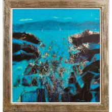 [§] CHARLES MACQUEEN R.S.W., R.G.I. (SCOTTISH B.1940) SEA EDGE 101cm x 92cm (39.5in x 36.5in)