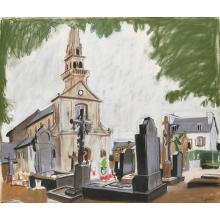 [§] ALEXANDER GOUDIE (SCOTTISH 1933-2004) THE VILLAGE CHURCH, 1982 54cm x 63cm (21.25in x 24.75in)