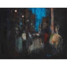 [§] STEPHEN MANGAN (SCOTTISH B.1964) CITY LIGHTS 36cm x 47cm (14in x 18.5in)