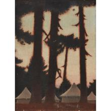 [§] KEITH HENDERSON O.B.E., R.S.W., R.W.S., R.O.I. (SCOTTISH 1882-1983) SUNSET AT THE CAMPSITE 35cm x 25.5cm (13.75in x 10in)