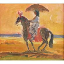 [§] DAVID MCLURE R.S.A., R.S.W. (SCOTTISH 1926-1998) HORSEMAN ON THE SHORE II 27cm x 31cm (10.5in x 12.25in)