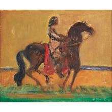 [§] DAVID MCLURE R.S.A., R.S.W. (SCOTTISH 1926-1998) HORSEMAN ON THE SHORE III 28cm x 35cm (11in x 13.75in)